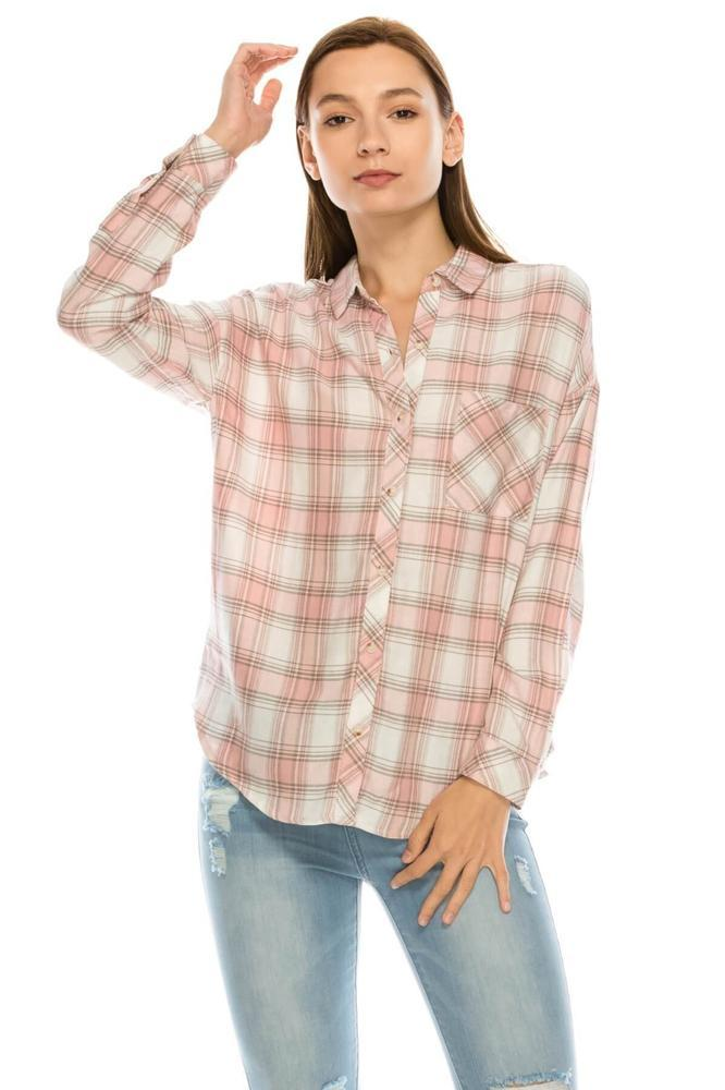 Salt Tree Women's Classic Boyfriend Button Down Long Sleeves Checked Shirt