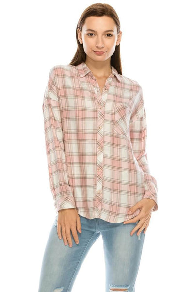Salt Tree Women's Classic Boyfriend Button Down Long Sleeves Checked Shirt-SaltTree