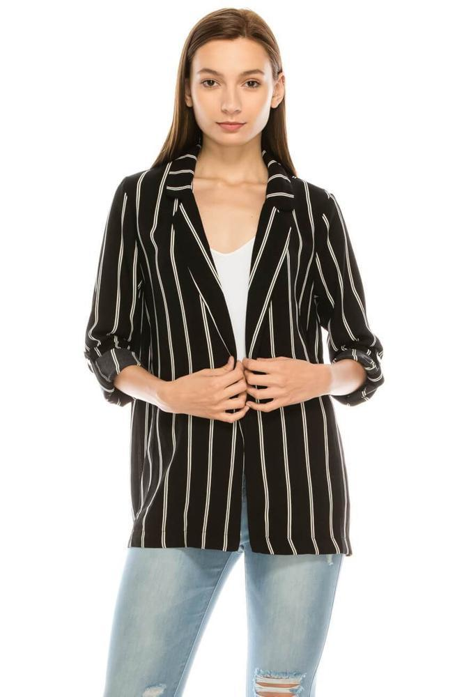 Salt Tree Women's Classic Boyfriend Rolled Up Sleeves Stripe Blazer Top