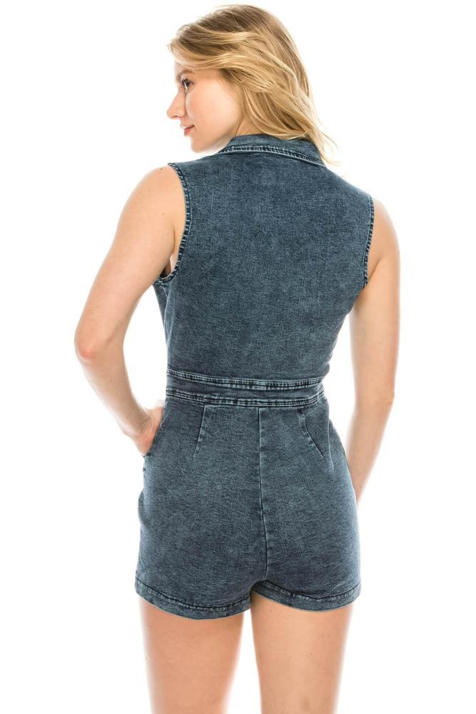 Salt Tree Women's Collar Deep Open Neck Front Zipper Denim Romper