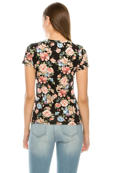 Salt Tree Women's Crew Neck Short Sleeves Printed Text Floral Knit Top-SaltTree