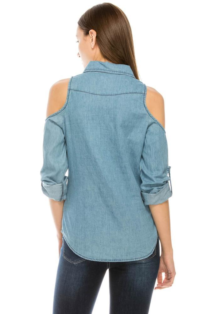 Salt Tree Women's Cut Out Cold Shoulder Button Down Slim Denim Top