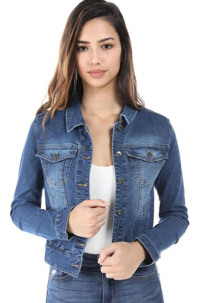 Salt Tree Women's Button Front Washed Out Long Sleeve Denim Jacket-SaltTree