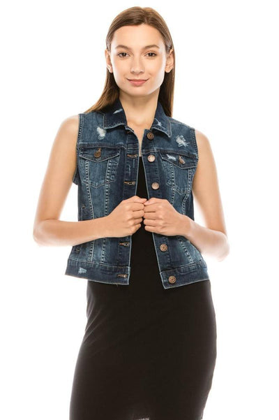 Salt Tree Women's EnJean Distressed Vintage Sleeveless Stretch Denim Vest Jacket-SaltTree