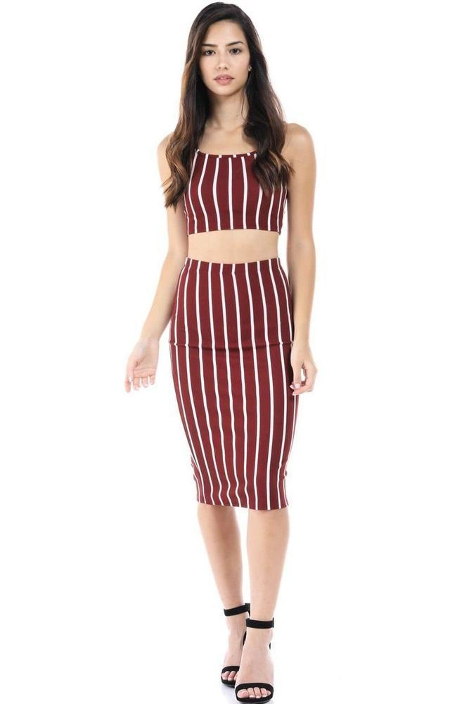 Salt Tree Women's Fashion Magazine Stripe Print Textured Top And Skirt Set