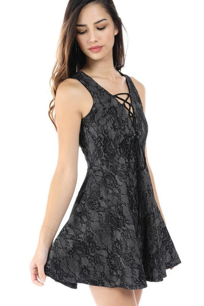 Salt Tree Women's Floral Lace A-Line Open Chest Crossover Strap Dress-SaltTree