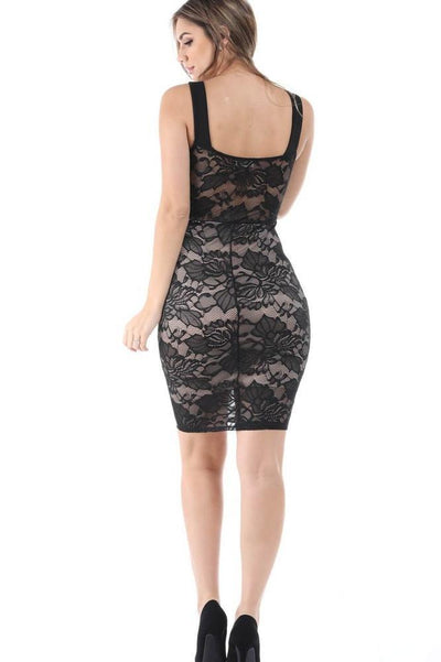 Salt Tree Women's Floral Lace Open Chest Padded Bodyson Midi Dress-SaltTree