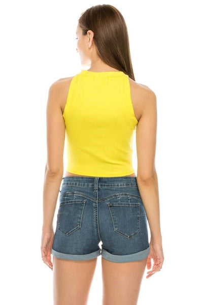 Salt Tree Women's Halter Neck Contrast Button Ribbed Knit Crop Top-SaltTree