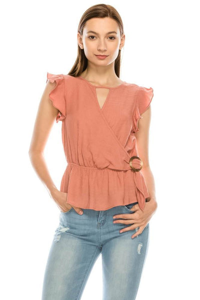 Salt Tree Women's Kimono Keyhole Neck Butterfly Sleeves Buckled Ruffles Top-SaltTree