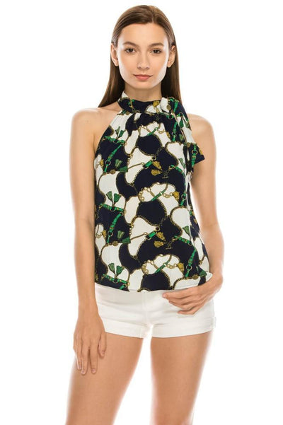 Salt Tree Women's Knotted High Neck Sleeveless Printed Flare Blouse Top-SaltTree