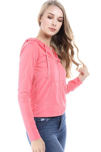 Salt Tree Women's Lightweight Zipper Front Hooded Long Sleeve Sweatshirt-SaltTree