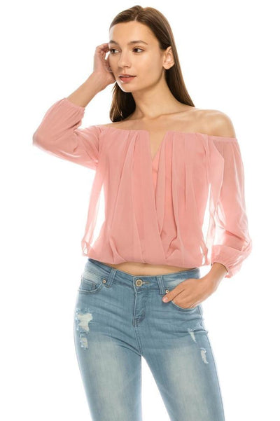 Salt Tree Women's Off Shoulder Keyhole Inserted Neck Crossover Pleated Top-SaltTree