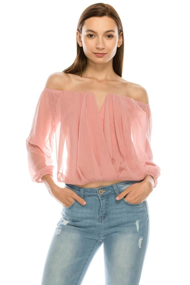 Salt Tree Women's Off Shoulder Keyhole Inserted Neck Crossover Pleated Top