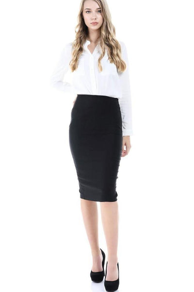 Salt Tree Women's Plain Stretch Zipper Back Closure Long Line Skirt-SaltTree