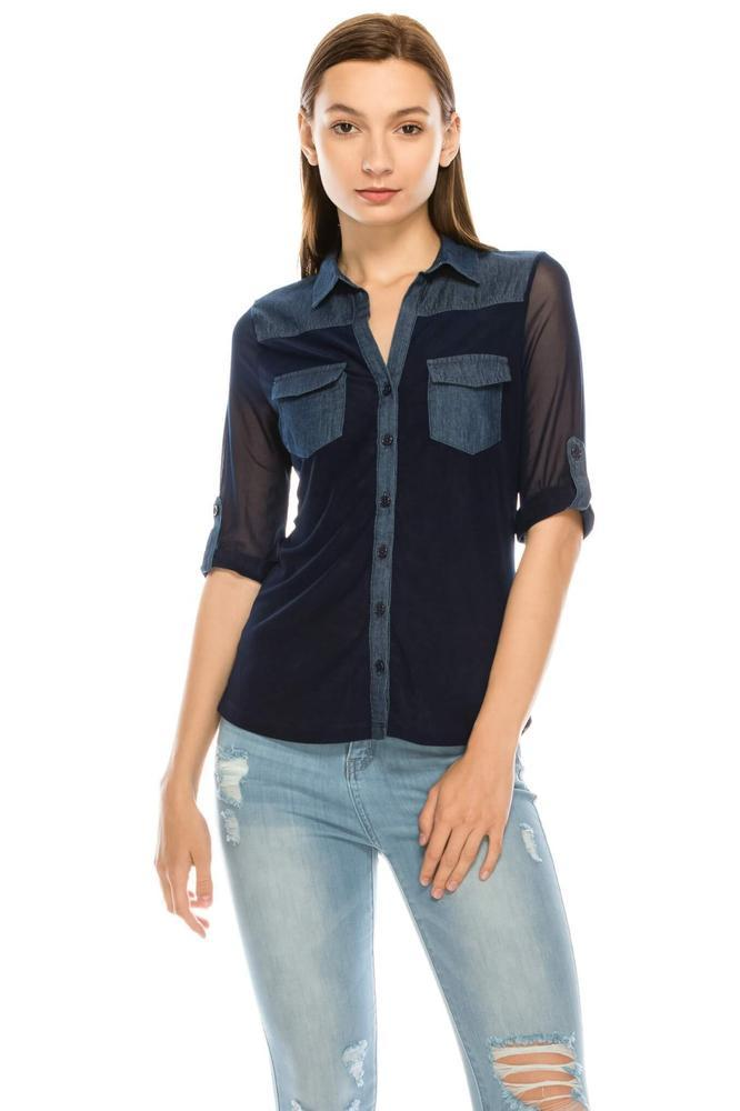 Salt Tree Women's Rolled Up 3/4 Sleeves Button Down Denim Sheer Top