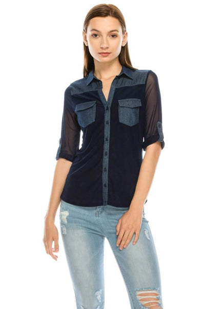Salt Tree Women's Rolled Up 3/4 Sleeves Button Down Denim Sheer Top-SaltTree