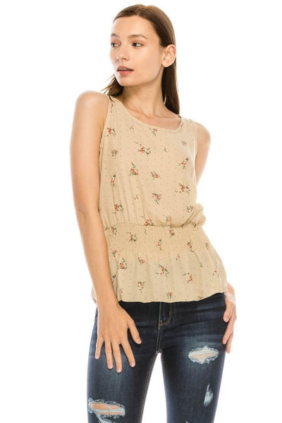 Salt Tree Women's Scoop Neck Sleeveless Floral Print Ruffles Trumpet Top-SaltTree