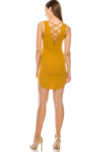 Salt Tree Women's Sleeveless Scoop Neck Laced Back Contoured Ribbed Dress-SaltTree