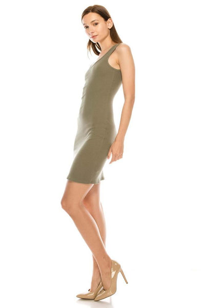 Salt Tree Women's Sleeveless Scoop Neck Ribbed Knit Pencil Knee Dress-SaltTree