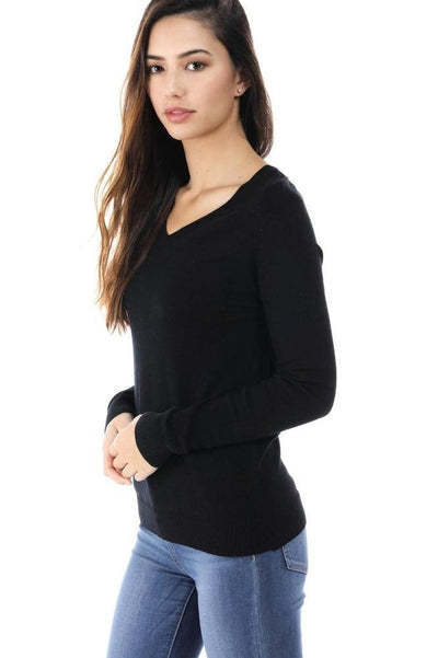 Salt Tree Women's Soft Deep V-Neck Cut Long Sleeve Ribbed Sweater-SaltTree