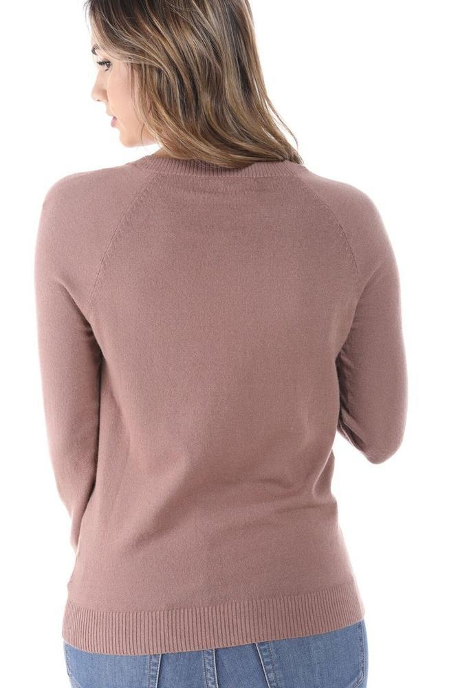 Salt Tree Women's Soft Deep V-Neck Cut Long Sleeve Ribbed Sweater