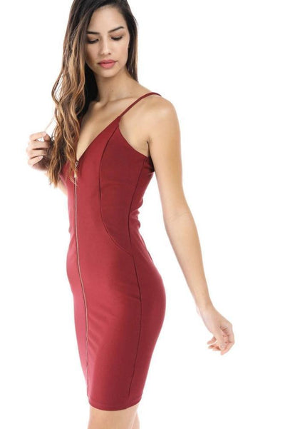 Salt Tree Women's Zipper Front Ribbed Padded Chest Bodycon Dress-SaltTree