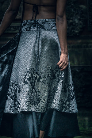 Samurai Wrap Skirt (Black/Silver)