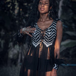 Yin Yang Tribal Sequin Fringe Top