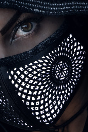 Reflective Cactus Leather Mask (Radiant Flow)