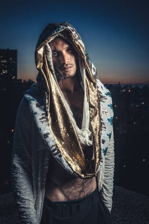 White Sequin Hood