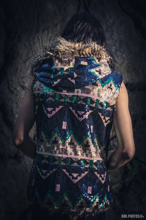 Tribal Warrior Sequin Vest (Navy Blue/Green/Beige)