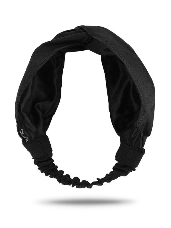 satin black turban headband for women with curly hair
