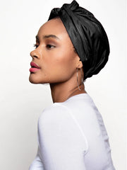 Black Head Wrap For Women Satin Lined Turban