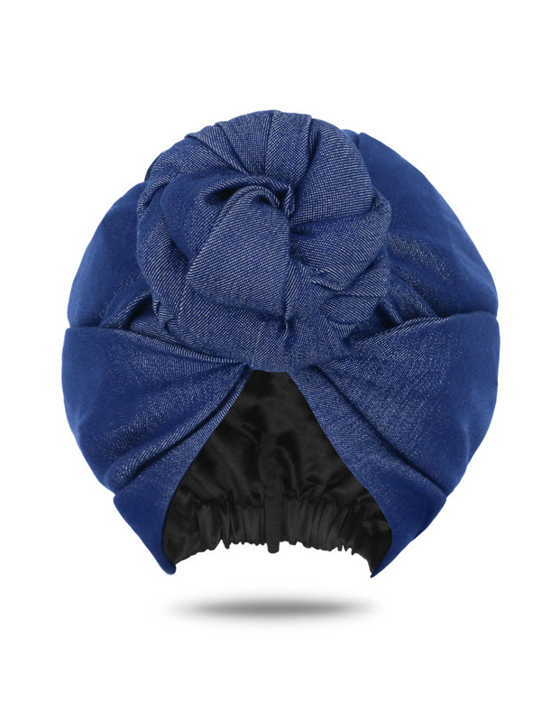 Denim Front Knotted Turban For Women | Denim Head Wrap For Women