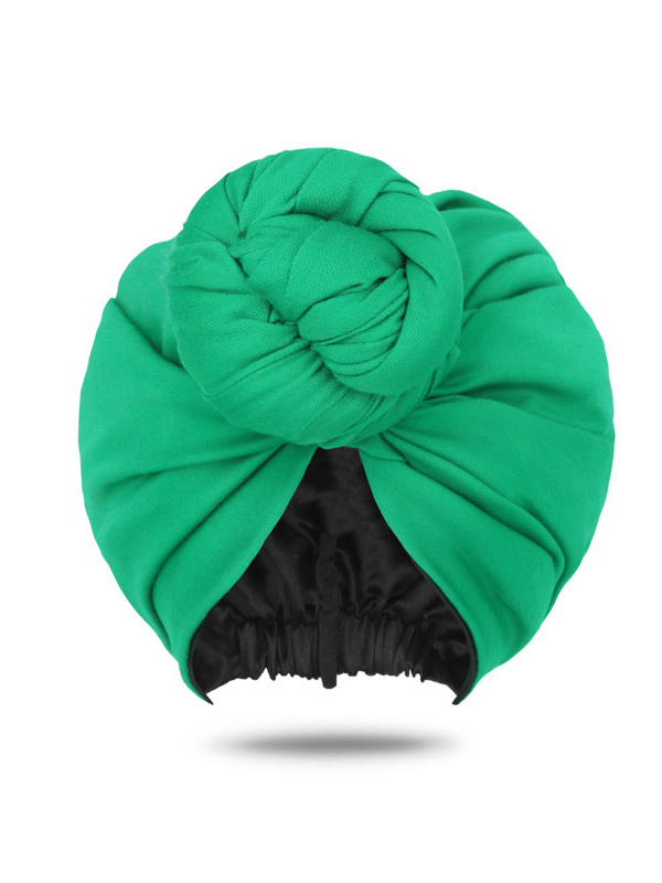 Green Head Wrap | Green Turban with Front Knot | Pre-Tied Head Wrap | Head Covers For Women