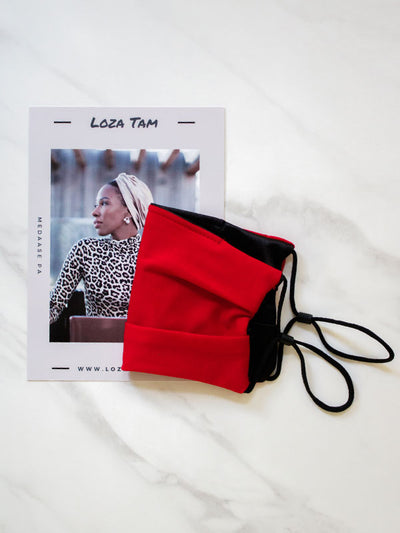 Red Face Mask With Black Satin For Women