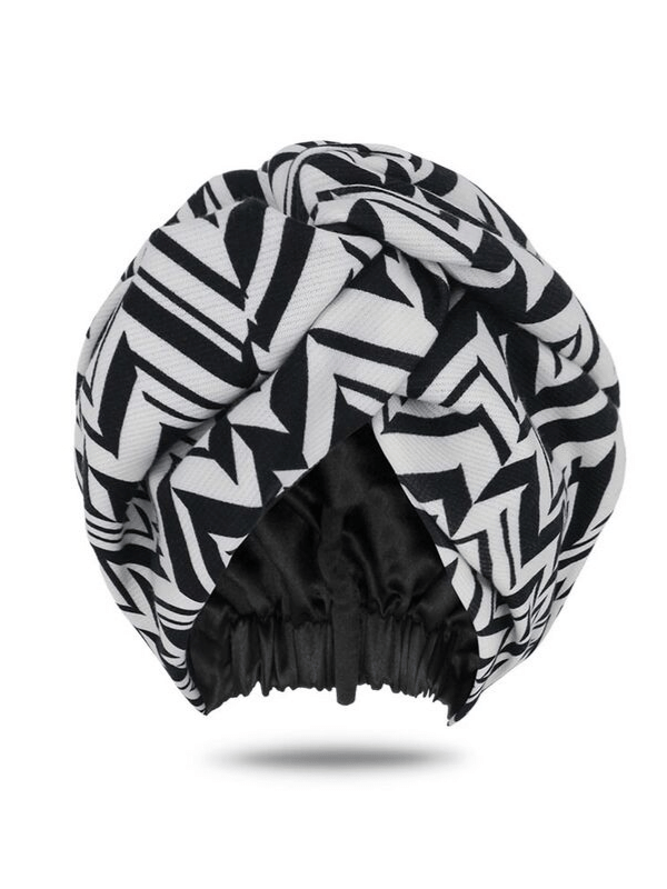 Zebra Print Satin-Lined Turban