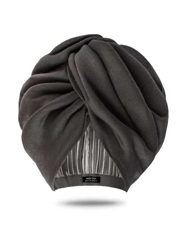 Grey Turban Hat | Satin Lined Turban Hat