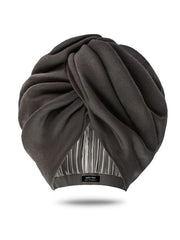 Dark Grey Turban Hat With Satin Lining
