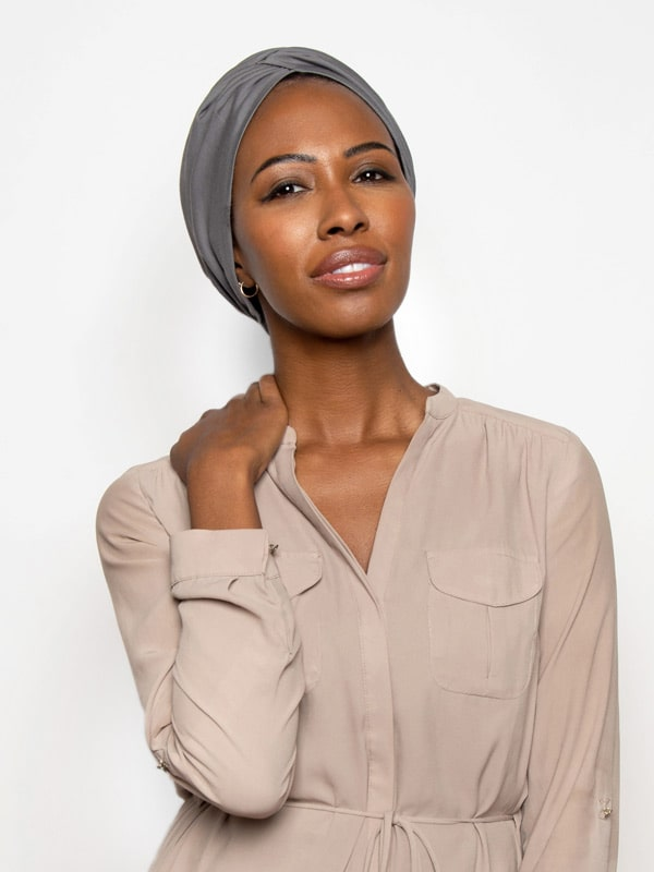 ash grey chemo  turban for women