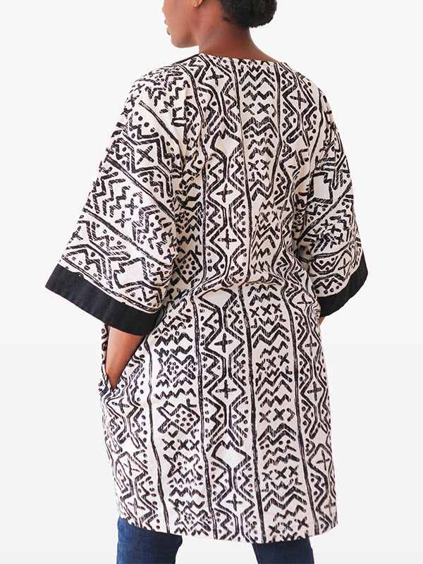 black and cream kimono for women