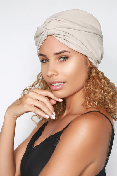 Beige Turban Hat For Women