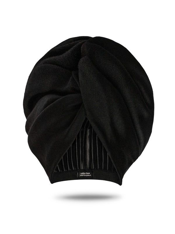 Black Satin Lined Turban