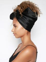 Black Satin Head Scarf For Women