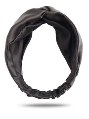 Black Satin Turban Headband For Women With Curly Hair