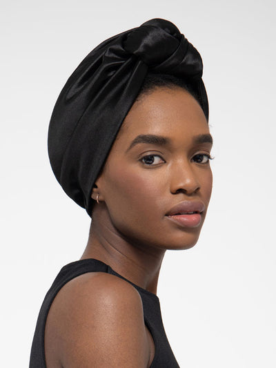 Black Silk Turban Head Wrap For Women With Natural Hair