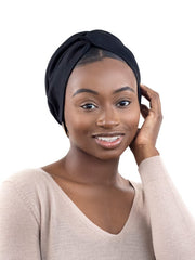Luxe Black Satin-Lined Head Wrap Turban
