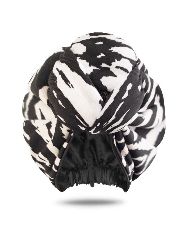 Black & White Pre-Knotted Headwrap For Women