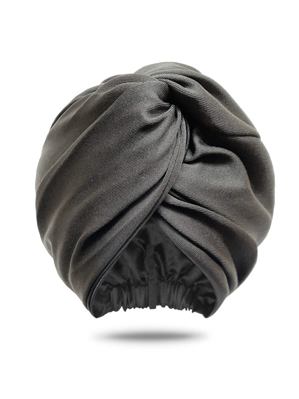 Black Satin-Lined Turban For Women