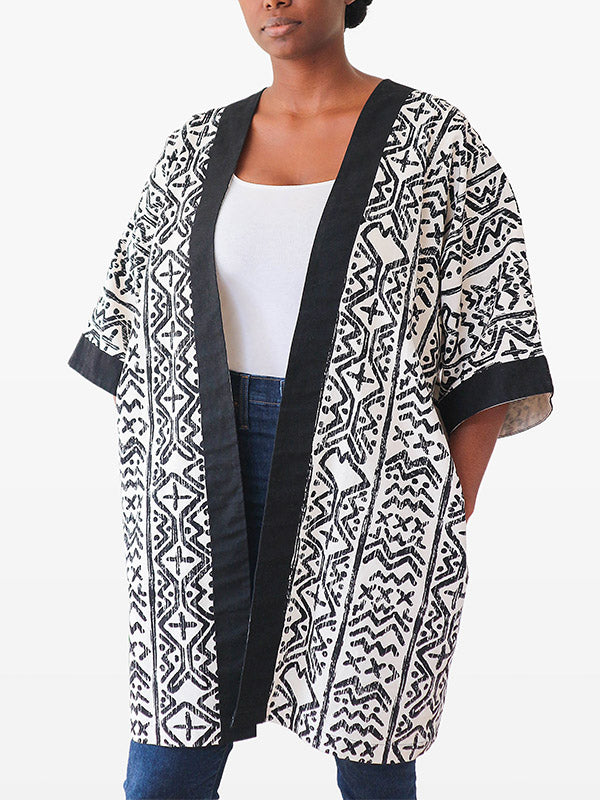 black and cream kimono jacket with pockets